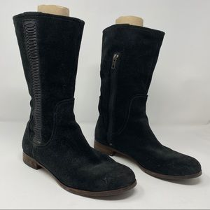 UGG Annisa Black Suede Leather Mid-Calf Boots 8.5